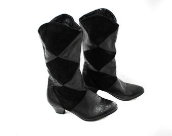 Leather boots, Black leather boots, Cowboy boots, Vintage boots, Midcalf boots, Boho Festival boots, Heel boots / EUR 38, US 7.5 ,UK 5.5