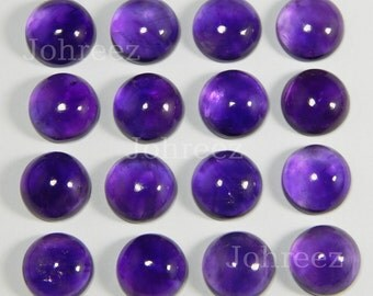 25 Pieces Wholesale Lot Natural Purple Amethyst Round Cabochon Gemstone
