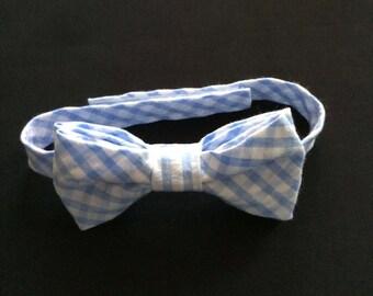 Little Boys Blue & White Check Bowtie, Boys Blue and White Check Bow Tie, Blue Check Baby BowTie, Baby Blue and White Seersucker Bow Tie