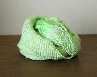 Vintage Japanese Silk Obiage /// Obiage, Silk scarf, Kimono scarf, Green silk scarf, Geen Silk Obiage, Silk Kimono, Vintage Green Silk sash