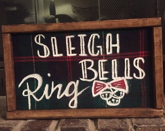 Sleigh bells ring plaid sign
