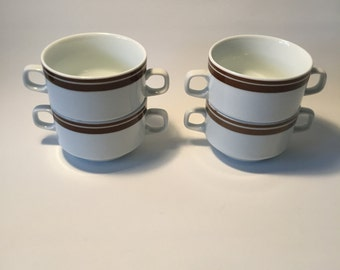 4 soup bowls Brown, Mitropa Dinnerware