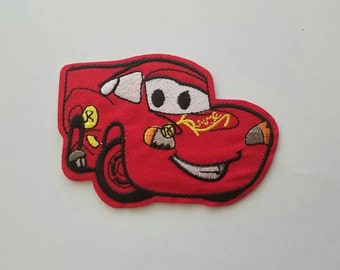 Lightning McQueen Cars iron on inspired patch, Lightning McQueen birthday party embroidery patch inspired