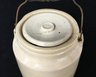 Antique 1800s Lidded Crock