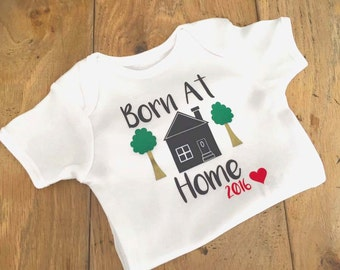 Born at home, baby vest, home birth,