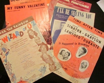 Vintage Sheet Music Lot of Six - Wizard of Oz, My Funny Valentine,Sinatra,more.