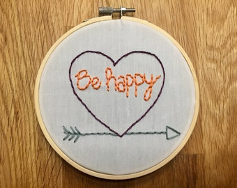 Image of embroidery hoop embryo happy heart