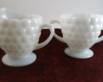 Vintage Milk Glass Cream and Sugar Set, Anchor Hocking Milk Glass Bubble , Shabby Chic Dining, Wedding and Shower Table