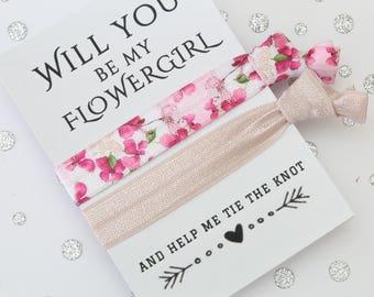 Flowergirl Proposal - Flowergirl Hair Tie - Will you be my Flowergirl - Gift for Flowergirl - Friendship Band