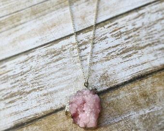 MegRicey // Druzy Necklace / Druzy Jewelry / Druzy Agate Necklace/boho jewelry/pink druzy necklace/long silver necklace/boho necklace