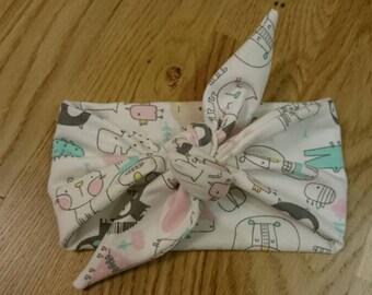 Baby headband with bow, sweet headband, pastel headband, pastel headwrap, baby turban with bow, animals headband
