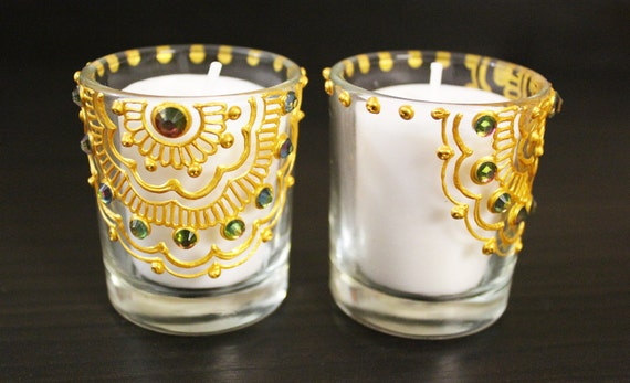 Henna Votive Candle Holders - Set of 4