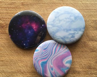 Arstsy Tumblr Aesthetic galaxy, marble, holo pin-back button pack 2.25 inch