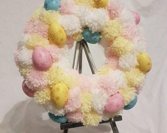 Easter/spring pom pom wreath