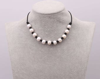 Freshwater Pearl Necklace, Women Beaded Necklace,Girls Necklace with Freshwater Pearls,Leather Necklace,Natural