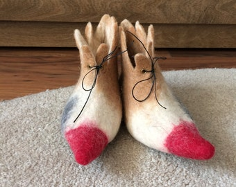 Felted elf shoes, home shoes, home slippers