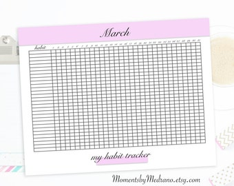 Habit Tracker Printable, daily habits planner, planner inserts, US Letter Size, productivity, goals, 12 months, Printable PDF