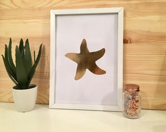 Rose Gold Foiled Star Fish Print With Frame Included