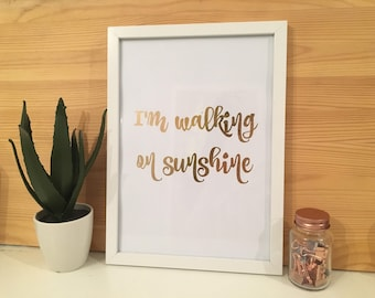 Rose Gold Foiled Walking On Sunshine Frames Print