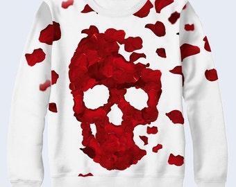 Petals Skull Sweatshirt, Sweatshirt for Women, Womens Sweater, Pullover, Crew Neck Sweatshirt, White, Sweat Shirt, Art Style, Over All Print