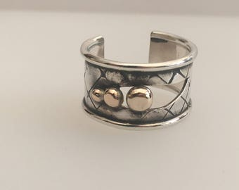 Sterling Silver and 9ct gold 'industrial' art ring