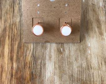 White Quartz Wire Stud Earrings