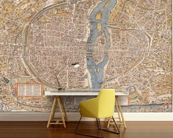 Paris map wall mural, Paris wall mural, vintage old map, vintage Paris map , self-adhesive , world map wall mural, map wallpaper, map decal