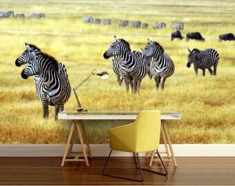 animals wall mural, wall mural nature, wildlife wall mural, self-adhesive vinly, zebra wall mural, deer, deers forest, savana wall mural