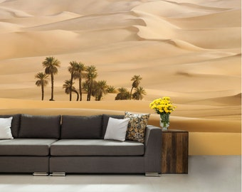 desert WALL MURAL,sahara wall mural, palms wallpaper, sahara wallpaper, yellow  wall mural, wall mural, desert wall paper, desert wallpaper