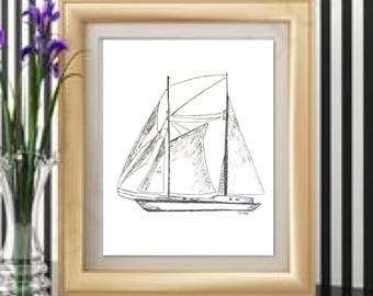 Sailboat drawing, pen and ink Nautical sketch, Boat print, original art sketch, Boat illustration, black and White Print, Ocean art