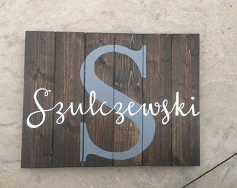 Pallet Last Name Wood Sign - Custom Name Sign - Personalized Name Sign - Rustic Family Sign - Personalized Wedding Gift