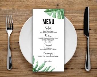Wedding Menu Printable, Wedding Menu Card, Wedding Menu, Dinner Menu, Printable Menu, Tropical Menu, Watercolor Menu, Digital File, Menu PDF