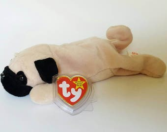 "Ty Original Beanie Baby ""Pugsly"" the Pug, Multiple Errors, Style 4106, Birthday: 5-2-96 ""Rare"" PVC Pellets, Collectible toys, LIVToyShop"