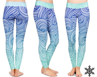 LEGGINGS - Bayside Swirl wave leggings, yoga pants Blue white teal leggings, soft, compression, athletic pants leggings wynterco fun sporty