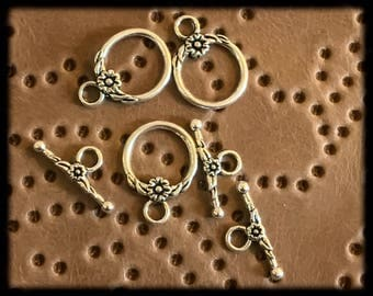 Beautiful Antique Silver Toggle Clasps - 3 -  16mm - B26