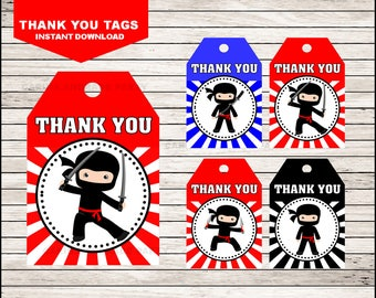 50 Off Sale Ninja Thank you tags instant download, Ninja Tags, Ninja Party Thank you tags
