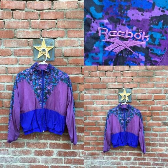 Reebok splosion Jacket / 80s 90s Reebok Windbreaker Purple Print Colorblock