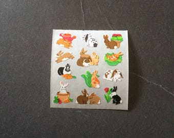 Sandylion vintage rare paper mini rabbit stickers