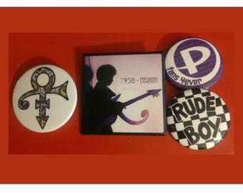 Set of 4 Commemorative buttons pins in memory of Prince The Artist Rude Boy