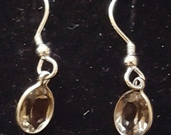 Sterling silver and 8x6mm faceted smoky quartz drop earrings