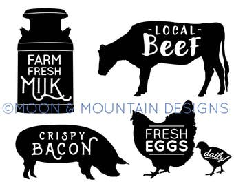 Milk Can, Cow, Pig, Chicken Farm Pack - SVG • PNG • EPS Cut Files