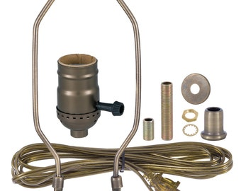 Table Lamp Wiring Kit- 3 way turn knob socket- Antique Brass, Nickel Plated or Brass