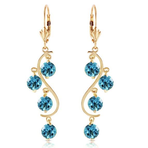 Gold CHANDELIERS EARRING With  Blue TOPAZ