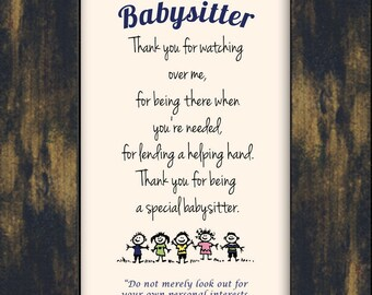 My Baby Sitter, Nanny, sunday school,Child Care Giver Appreciation, Birthday or Christmas  Framed Gift with Easel (25MB-111)
