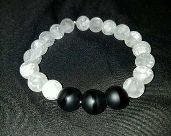 Black Agate Stone Beaded bracelet !
