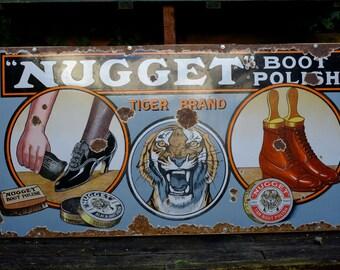 Old Tiger Brand Nugget Boot Polish Antique Vintage Enamel Advertising Sign c1910