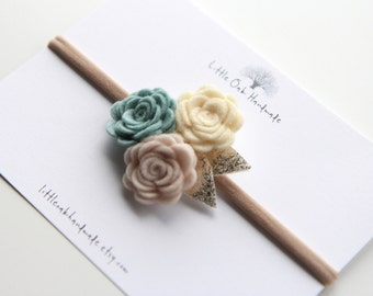 Wool Felt Trio Rose Bouquet Headband - Custard, Rose Beige, Aqua Mint Headband - Baby Headband