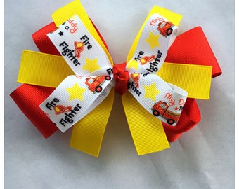 Firefighter Hairbow, First Responder Hairbow, My dad is a firefighter bow, Red Hairbow, Yellow HairBow, Boutique Hairbow, Stacked Hairbow