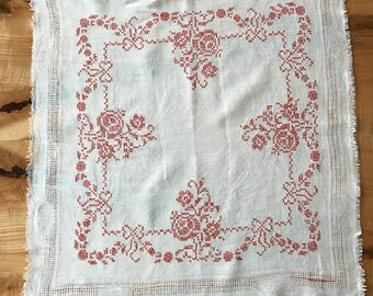 Red and White Linen Crossstiched Table Piece