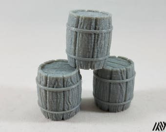 Barrel x3 - miniature furniture for Tabletop Gaming (DnD/Pathfinder/Warhammer)